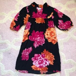 Banana Republic Pink and Orange Floral Crepe Dress
